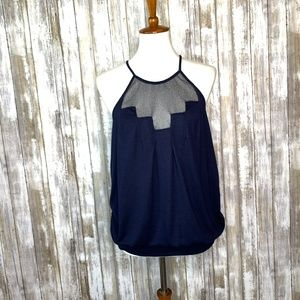 Anthro. Deletta Staggered Gleam Navy Tank Top Sz M
